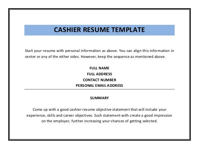 Cashier Example Objective Statements For Resume,Cashier Resume ...