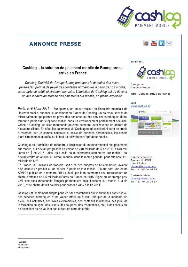Cashlog – la solution de paiement mobile de Buongiorno - arrive en France