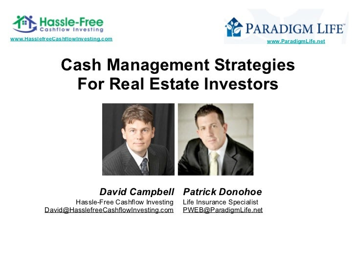 Cash management strategies for real estate investors