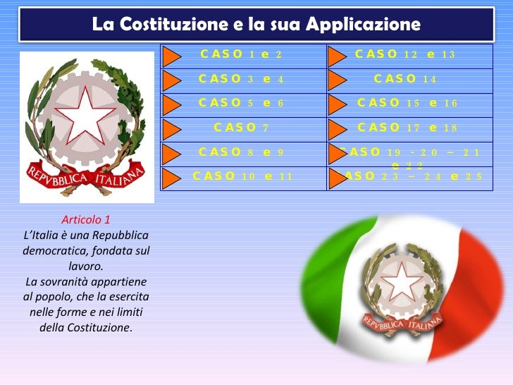 Articolo 1 L'Italia è una Repubblica democratica, fondata sul lavoro. La sovranità appartiene al popolo, che la esercita n...