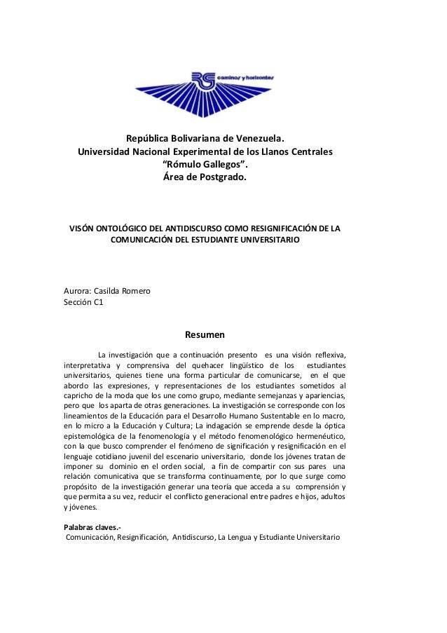 """República Bolivariana de Venezuela.    Universidad Nacional Experimental de los Llanos Centrales                      """"Róm..."""