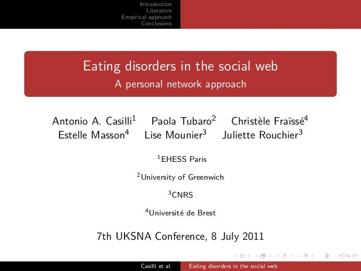 Eating disorders in the social web - A personal network approach