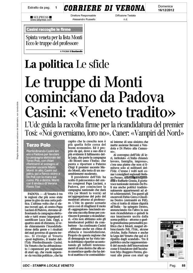 Casini: Veneto tradito. Le truppe di Monti partono da Padova
