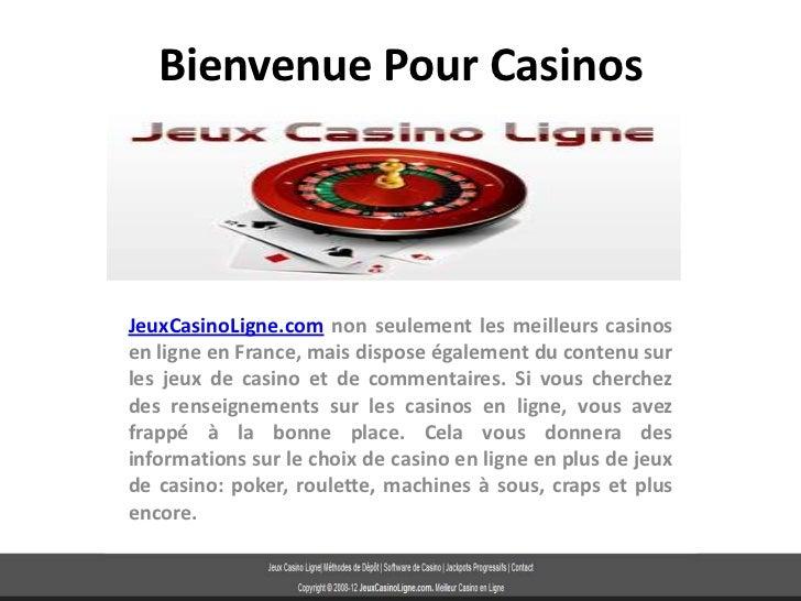 Bienvenue Pour CasinosJeuxCasinoLigne.com non seulement les meilleurs casinosen ligne en France, mais dispose également du...