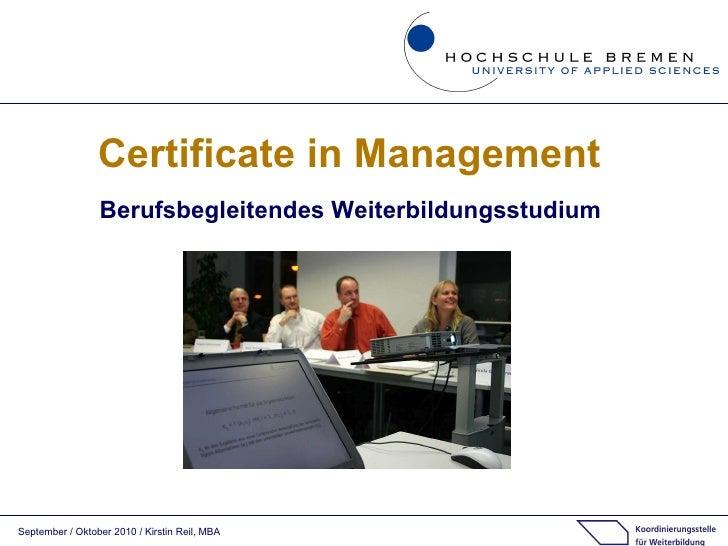Certificate in Management Berufsbegleitendes Weiterbildungsstudium