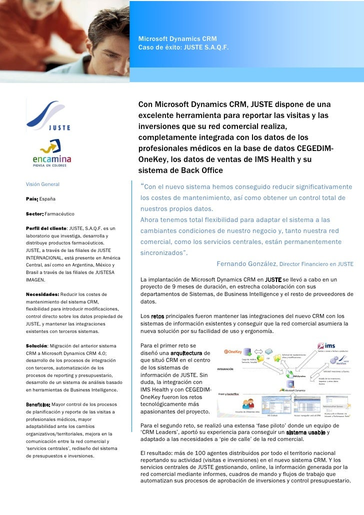 Microsoft Dynamics CRM                                               Caso de éxito: JUSTE S.A.Q.F.                        ...