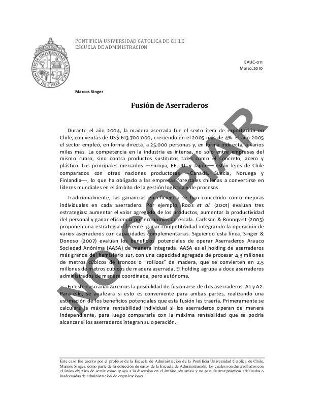 Pontificia Universidad Católica de Chile Caso Fusión Aserraderos