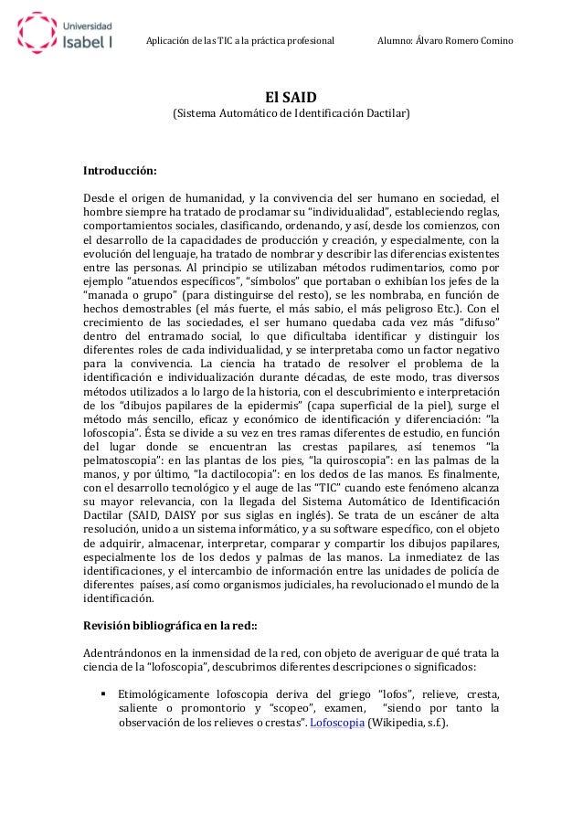 Aplicación  de  las  TIC  a  la  práctica  profesional  Alumno:  Álvaro  Romero  Comino  El  SAID  (Sistema  Automático  d...