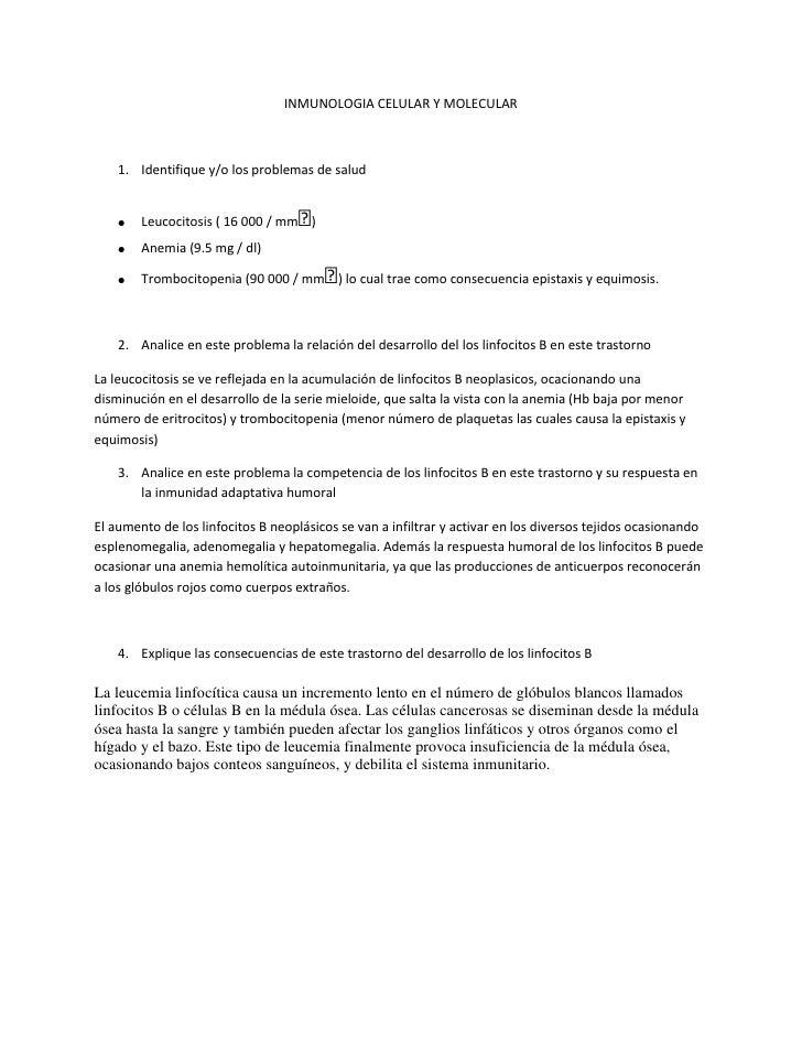 INMUNOLOGIA CELULAR Y MOLECULAR    1. Identifique y/o los problemas de salud                                   ᵌ        Le...