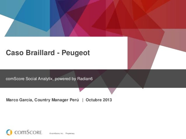 Caso Braillard - Peugeot  comScore Social Analytix, powered by Radian6  Marco García, Country Manager Perú | Octubre 2013 ...