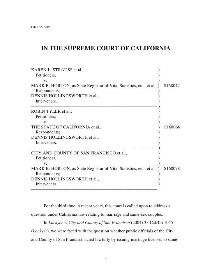 Sentencia matrimonio gay Caso California Contra La Prop.8