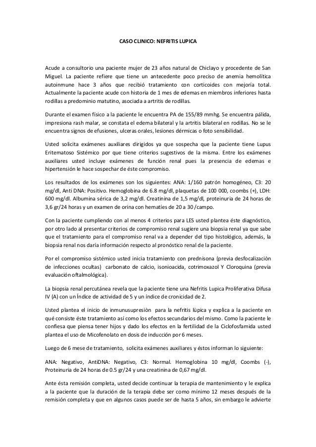 Caso clinico nefritis lupica