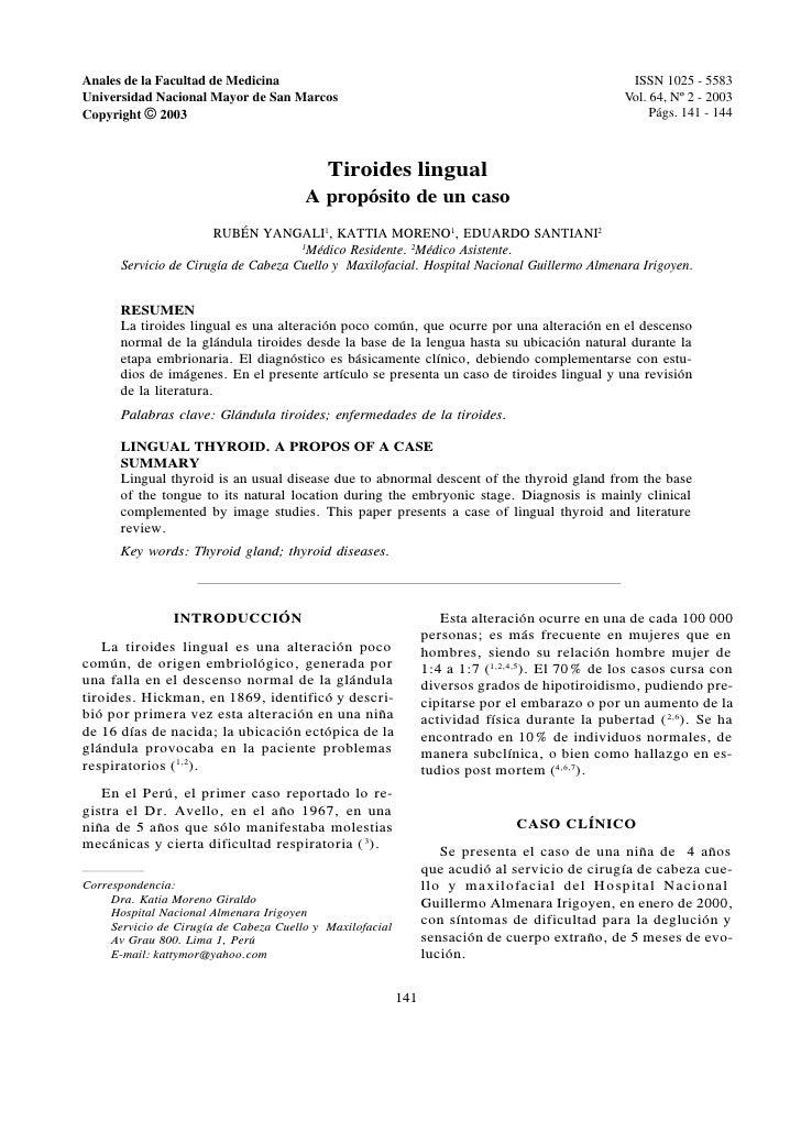 Anales de la Facultad de Medicina                                                                 ISSN 1025 - 5583 Anales ...