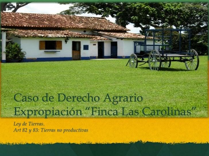 """Caso de Derecho AgrarioExpropiación """"Finca Las Carolinas""""Ley de Tierras.Art 82 y 83: Tierras no productivas"""