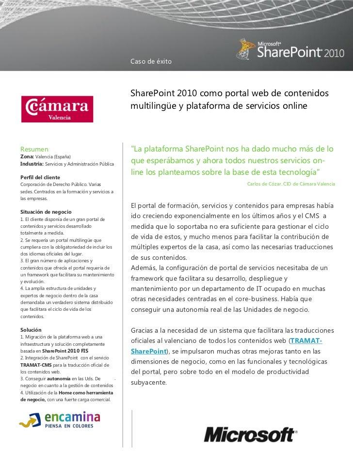 Caso de éxito portal sharepoint 2010 fis de cámara valencia