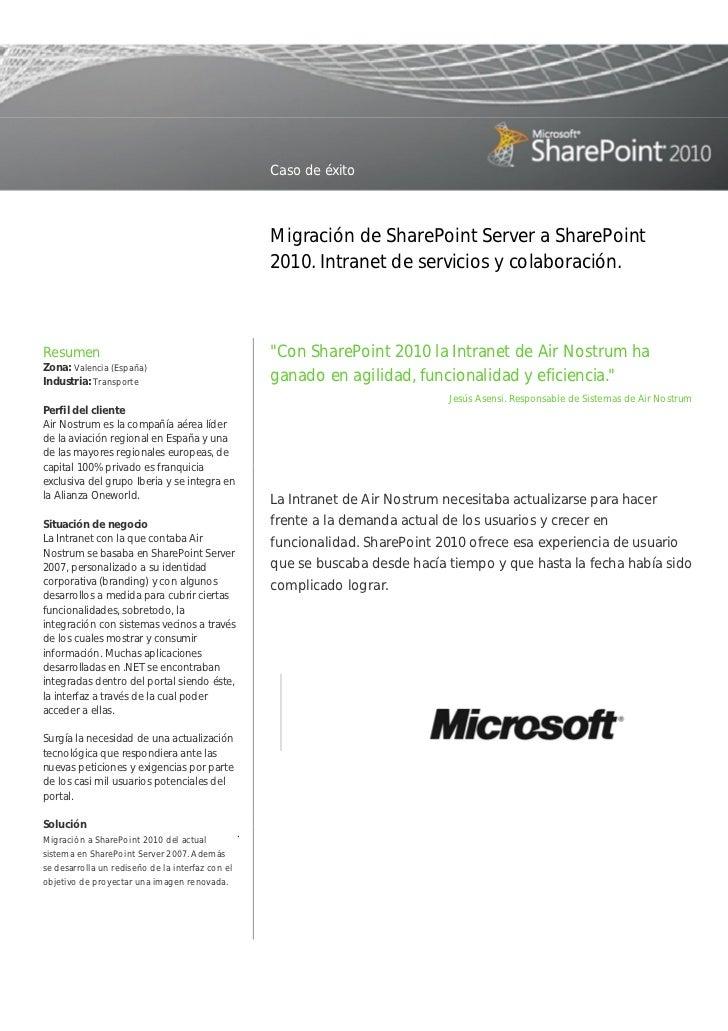 Caso de éxito                                                      Migración de SharePoint Server a SharePoint            ...