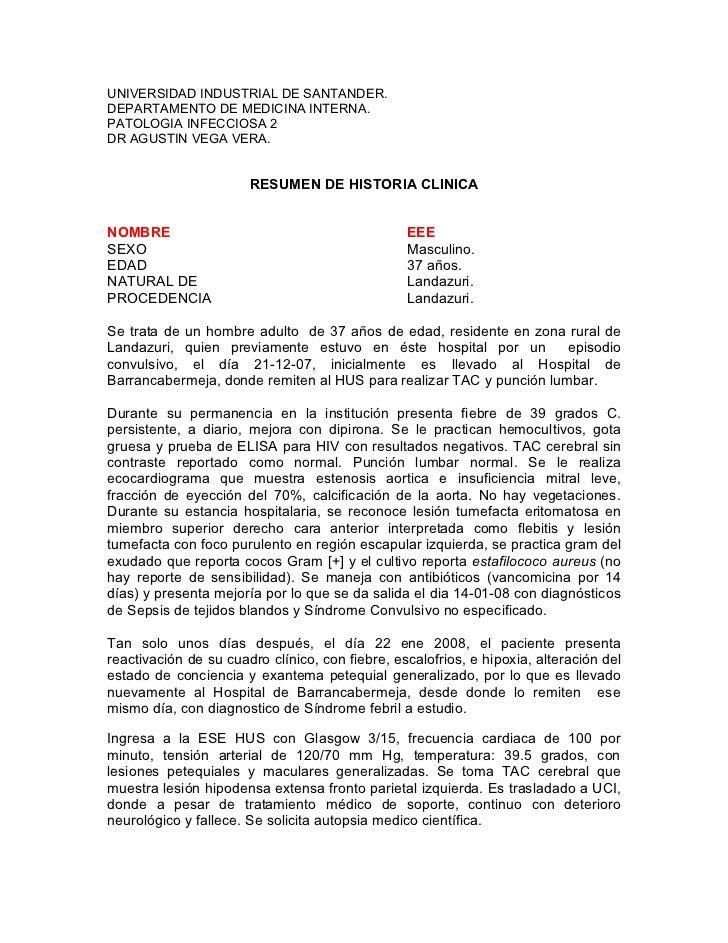 UNIVERSIDAD INDUSTRIAL DE SANTANDER. DEPARTAMENTO DE MEDICINA INTERNA. PATOLOGIA INFECCIOSA 2 DR AGUSTIN VEGA VERA.       ...
