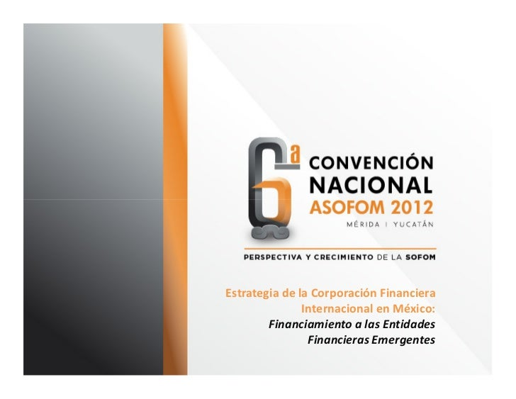 Estrategia de la Corporación Financiera               Internacional en México:        Financiamiento a las Entidades      ...