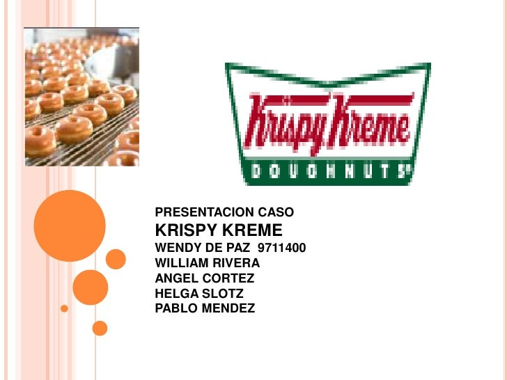 PRESENTACION CASO KRISPY KREME<br />WENDY DE PAZ  9711400<br />WILLIAM RIVERA<br />ANGEL CORTEZ<br />HELGA SLOTZ<br />PABL...