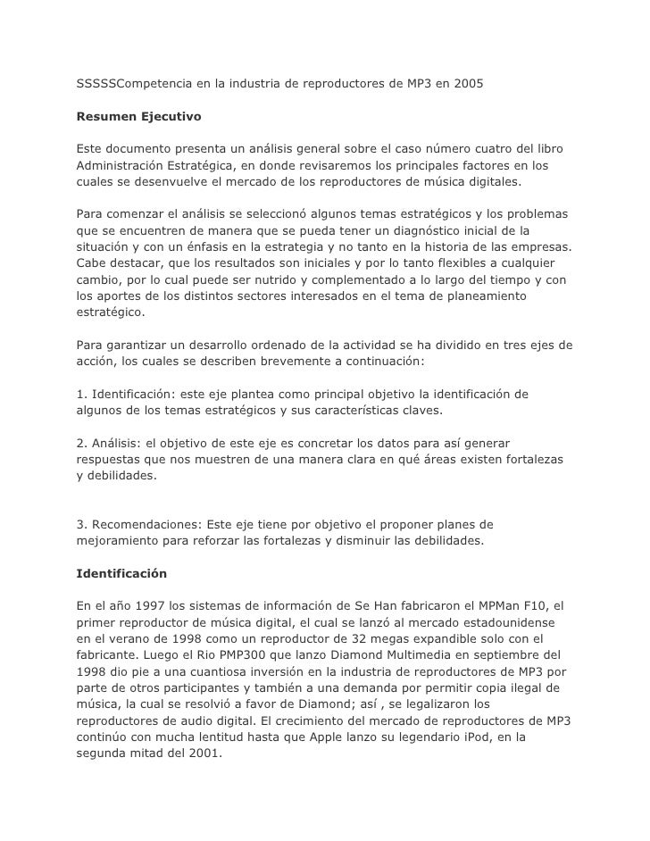 SSSSSCompetencia en la industria de reproductores de MP3 en 2005Resumen EjecutivoEste documento presenta un análisis gener...