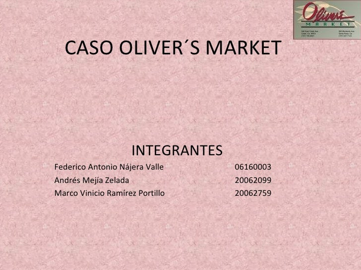 "oliver s market case Oliver has taught at st joseph's university in philadelphia and is currently a   2012 ""student preparation and personality traits in the job market†  2010 ""hot and easy in florida: the case of economics professorsâ€."