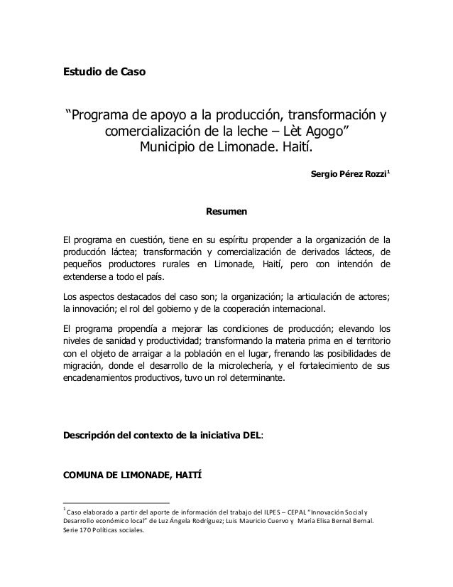 """Estudio de Caso Programa de apoyo a la producción, transformación y comercialización de la leche – Lèt Agogo"""" Municipio de Limonade. Haití"""