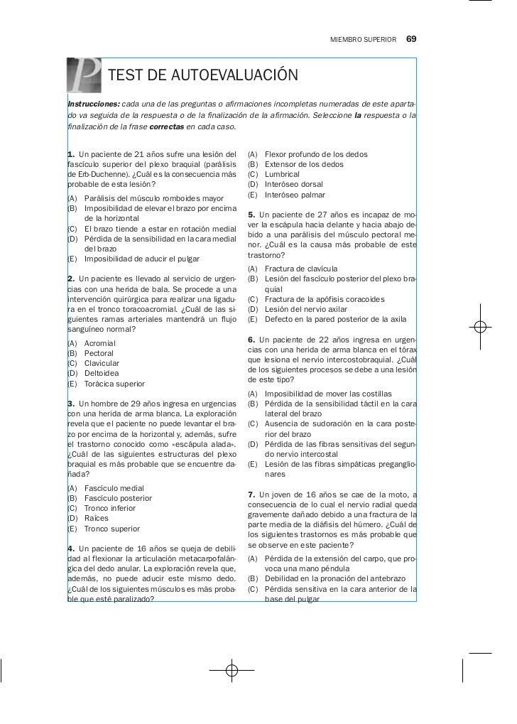 MIEMBRO SUPERIOR      69            TEST DE AUTOEVALUACIÓNInstrucciones: cada una de las preguntas o afirmaciones incomple...