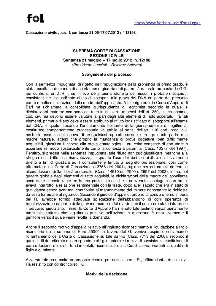 https://www.facebook.com/FocusLegaleCassazione civile , sez, I, sentenza 21.05-17.07.2012 n° 12198                        ...