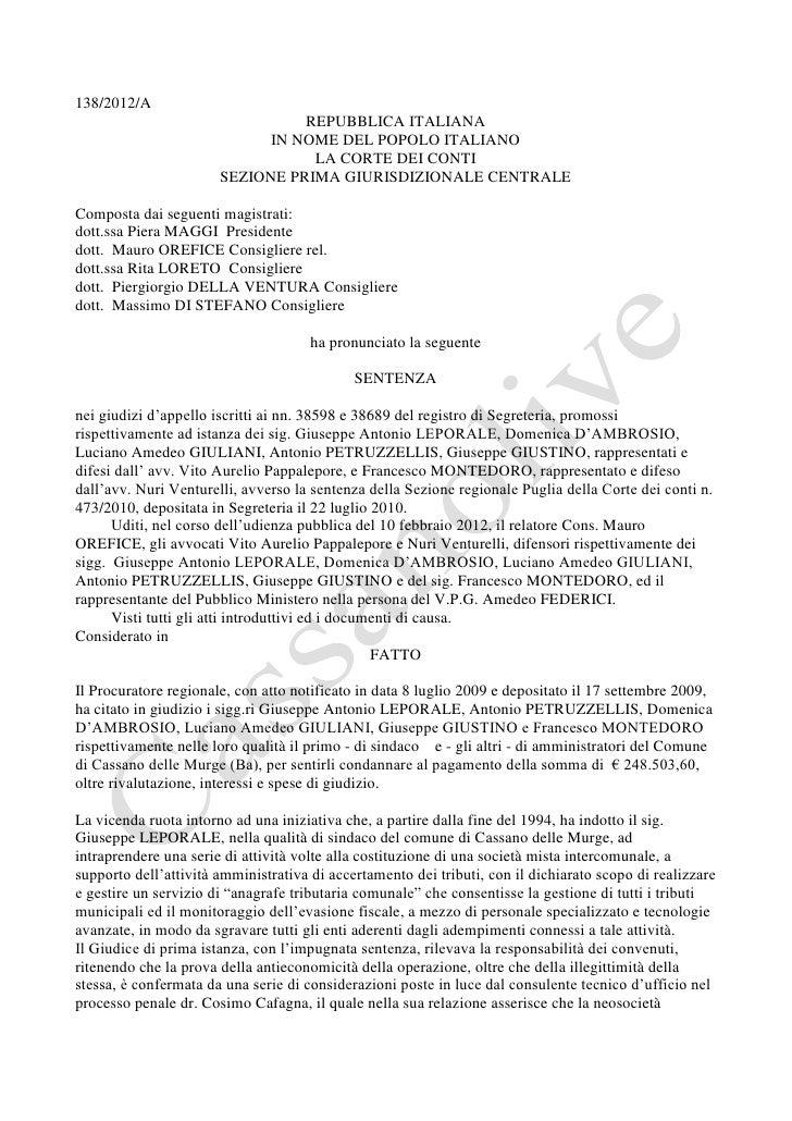 138/2012/A                                 REPUBBLICA ITALIANA                             IN NOME DEL POPOLO ITALIANO    ...
