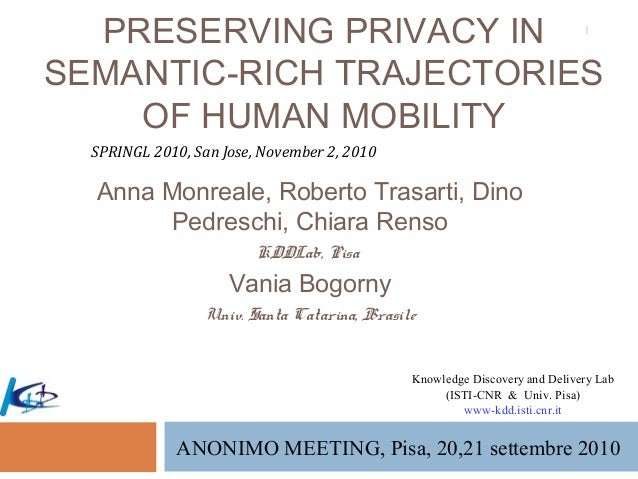 PRESERVING PRIVACY IN SEMANTIC-RICH TRAJECTORIES OF HUMAN MOBILITY Anna Monreale, Roberto Trasarti, Dino Pedreschi, Chiara...