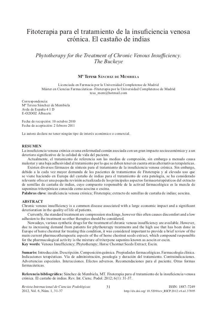 Fitoterapia para el tratamiento de la insuficiencia venosa                 crónica. El castaño de indias         Phytother...