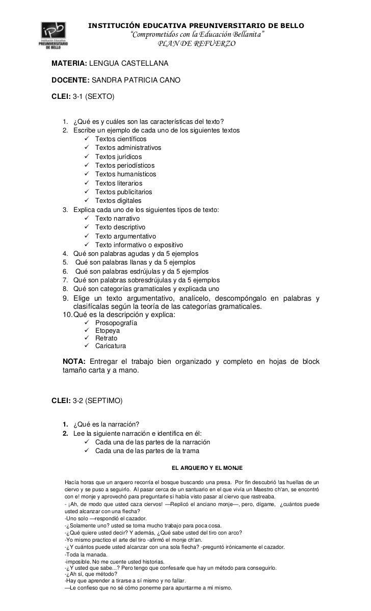 MATERIA: LENGUA CASTELLANA<br />DOCENTE: SANDRA PATRICIA CANO<br />CLEI: 3-1 (SEXTO)<br />¿Qué es y cuáles son las caracte...