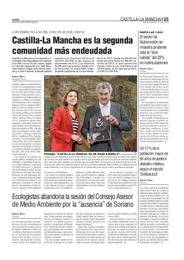 Castilla la Mancha es la segunda comunidad más endeudada. Estudio SRC La Deuda Pública 2013, La Lanza