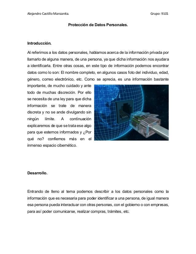 Alejandro Castillo Manzanita. Grupo: 9101 Protección de Datos Personales. Introducción. Al referirnos a los datos personal...