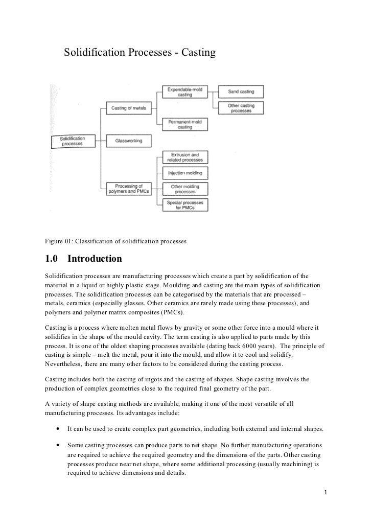 Solidification Processes - CastingFigure 01: Classification of solidification processes1.0     IntroductionSolidification ...