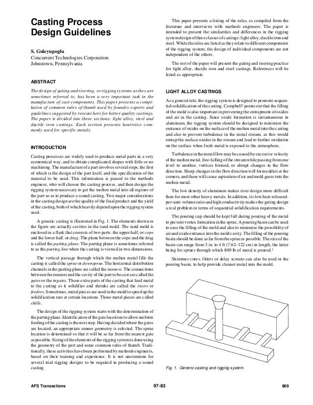Casting Process                                                                        This paper presents a listing of th...