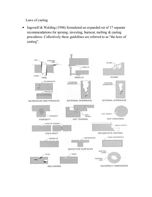 Laws of casting • Ingersoll & Walding (1986) formulated an expanded set of 17 separate recommendations for spruing, invest...