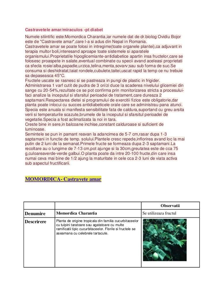 Castravetele amar/miraculos -pt diabetNumele stiintific este:Momordica Charantia,iar numele dat de dr.biolog Ovidiu Bojore...