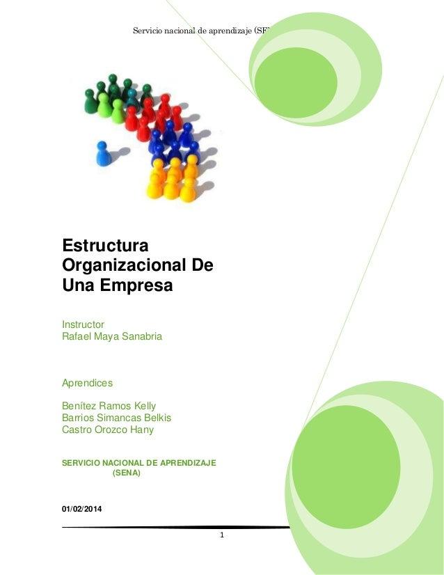 Servicio nacional de aprendizaje (SENA) 661299  Estructura Organizacional De Una Empresa Instructor Rafael Maya Sanabria  ...