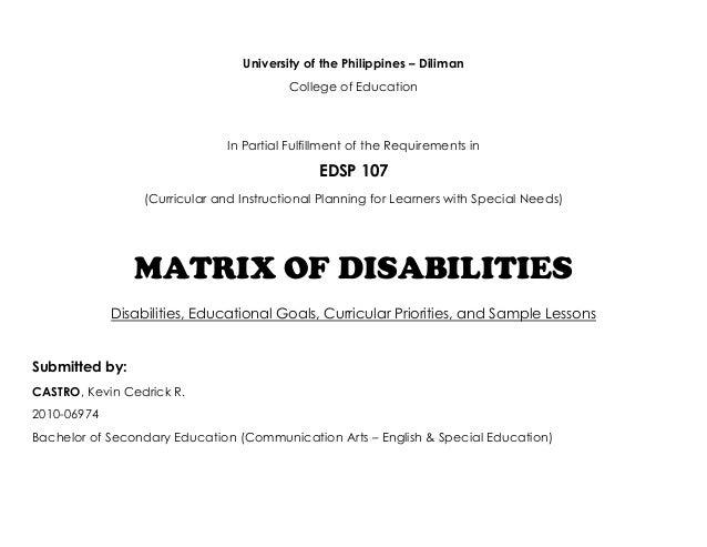 Matrix of Disabilities and Curricular Priorities