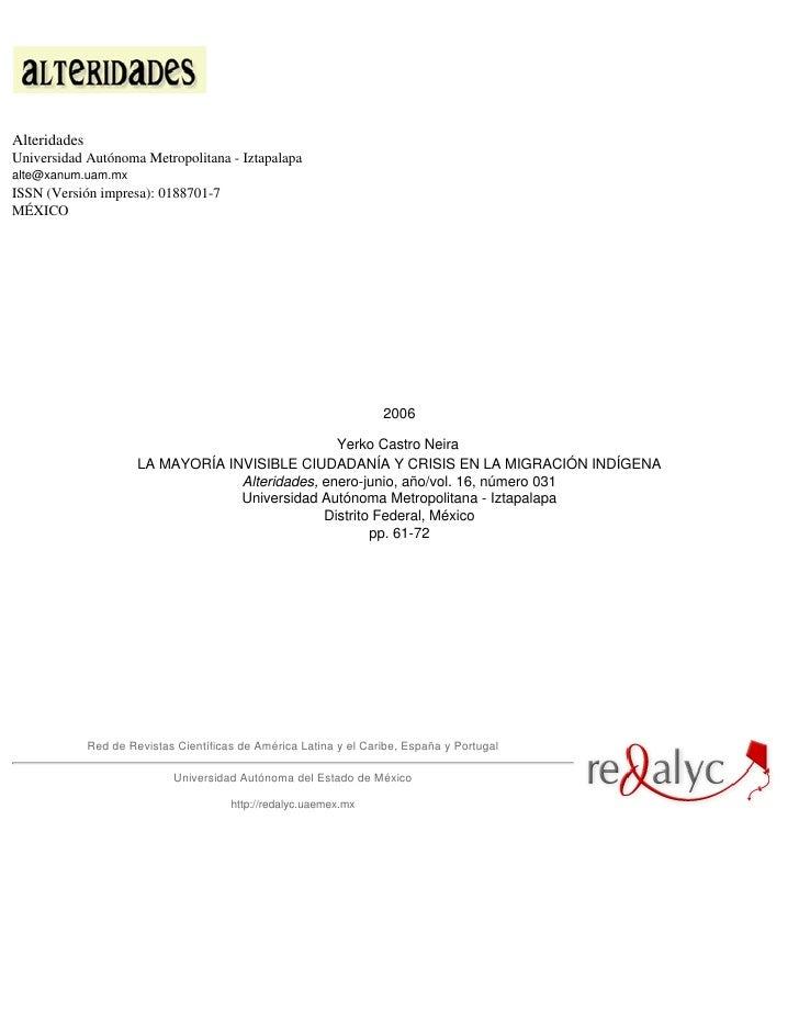 AlteridadesUniversidad Autónoma Metropolitana - Iztapalapaalte@xanum.uam.mxISSN (Versión impresa): 0188701-7MÉXICO        ...