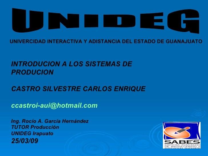 UNIDEG UNIVERCIDAD INTERACTIVA Y ADISTANCIA DEL ESTADO DE GUANAJUATO INTRODUCION A LOS SISTEMAS DE  PRODUCION  CASTRO SILV...