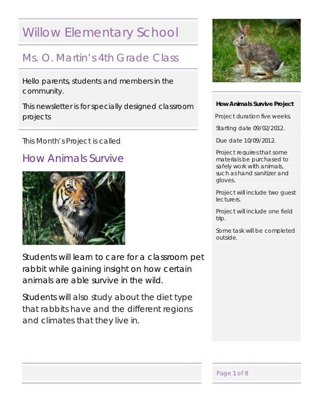 Cat 250 willow elementary school newsletter