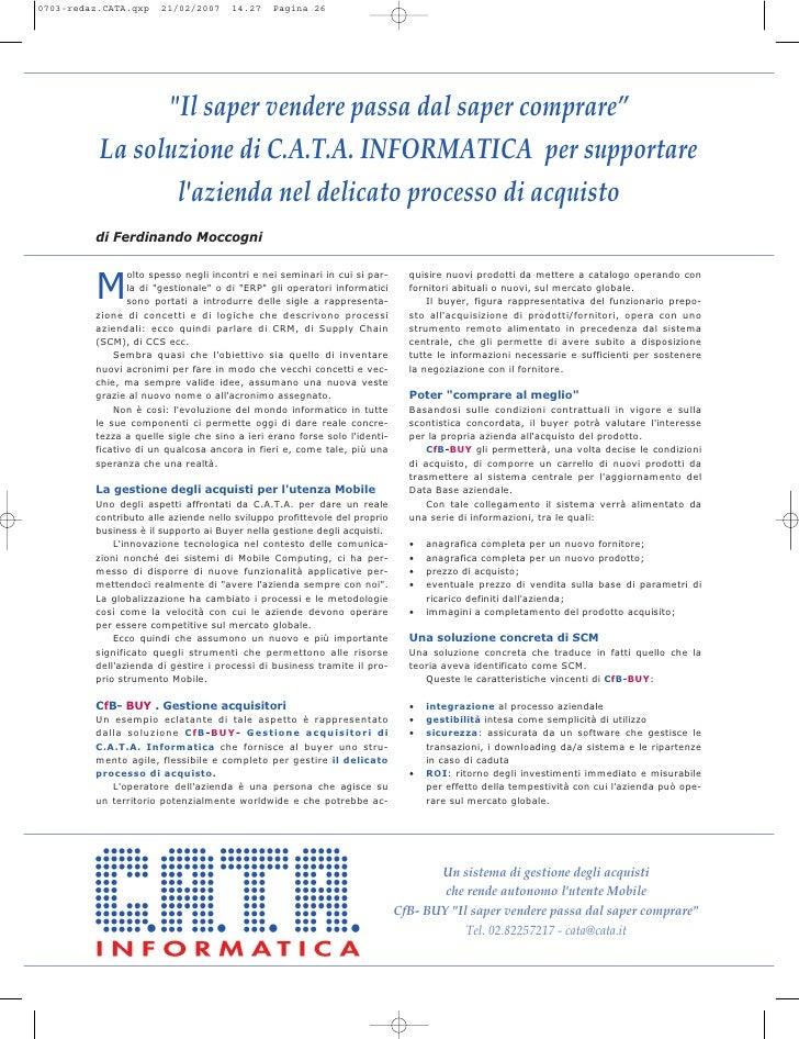 """quot;Il saper vendere passa dal saper comprare"""" La soluzione di C.A.T.A. INFORMATICA per supportare        l'azienda nel d..."""