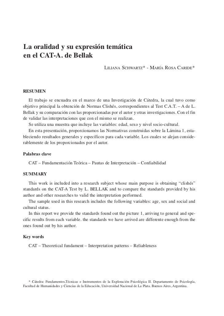 La oralidad y su expresión temáticaen el CAT-A. de Bellak                                                    LiLiana Schwa...