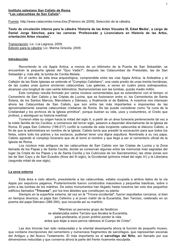 "1 Instituto salesiano San Calixto de Roma. ""Las catacumbas de San Calixto"".  Fuente: http://www.catacombe.roma.it/es [Febr..."
