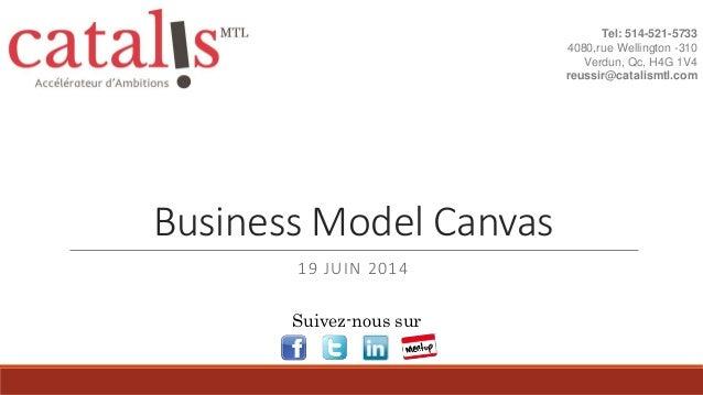 Business Model Canvas 19 JUIN 2014 Tel: 514-521-5733 4080,rue Wellington -310 Verdun, Qc, H4G 1V4 reussir@catalismtl.com S...