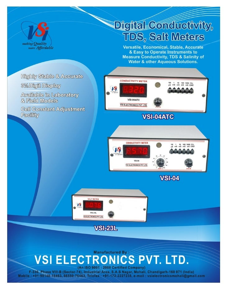 Catalog of Digital Conductivity Meters-TDS Meters-Salt Meters