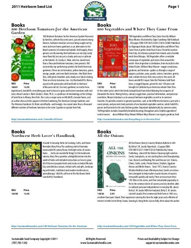 2011 Heirloom Seed List