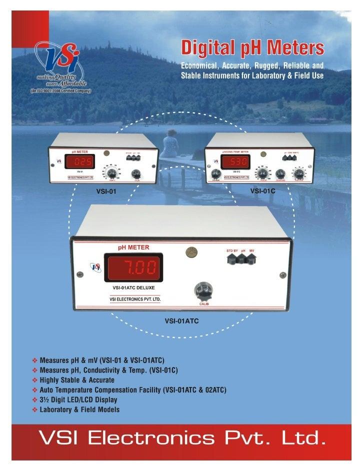 Catalog Digital pH MetersVSI-01, VSI-01ATC, VSI-02, VSI-02ATC & VSI-01C